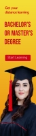 Distance learning Degree banner Wide Skyscraper template
