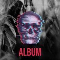 Distorted skull illustration video album art template