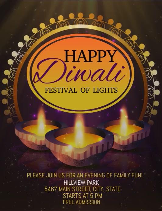 Diwali video template, happy Diwali Folder (US Letter)