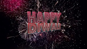 Diwali background with Firework Video Sampul Facebook (16:9) template