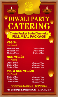 Diwali Catering Meal Package Template US Legal