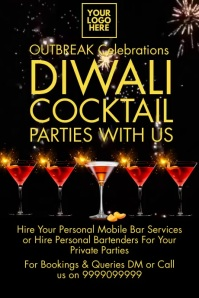 Diwali Cocktail Party Video Template Affiche