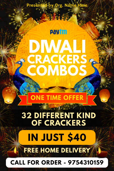 Diwali Crackers Sale Poster Template