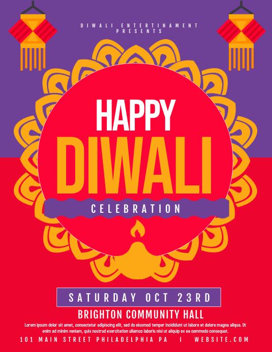 Diwali ใบปลิว (US Letter) template