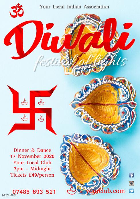 Diwali festival flyer template A4