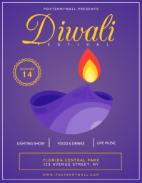 Diwali festival flyer template Pamflet (Letter AS)