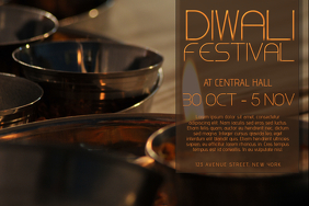 Diwali Festival Landscape Flyer Template
