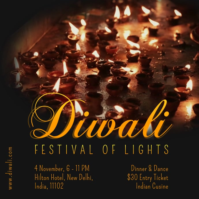 Diwali Festival of Lights Video Poster Template Quadrat (1:1)