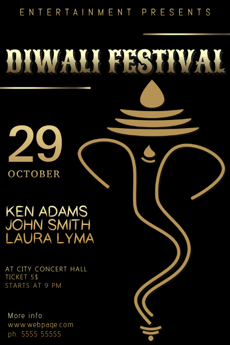 diwali festival flyer template postermywall
