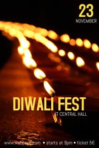 Diwali festival poster Flyer template