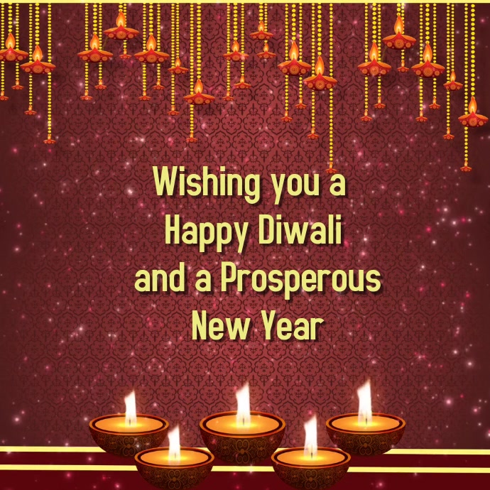 Diwali & New Year Greetings video display with Sparkles