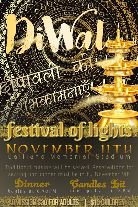 Diwali Indian East Heritage Fest Light Lotus Candle Gold