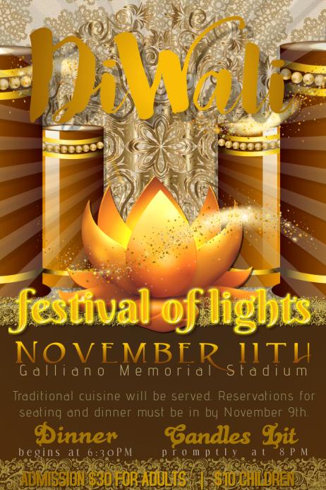 Diwali Indian East Heritage Festival Light Lotus Candle Gold