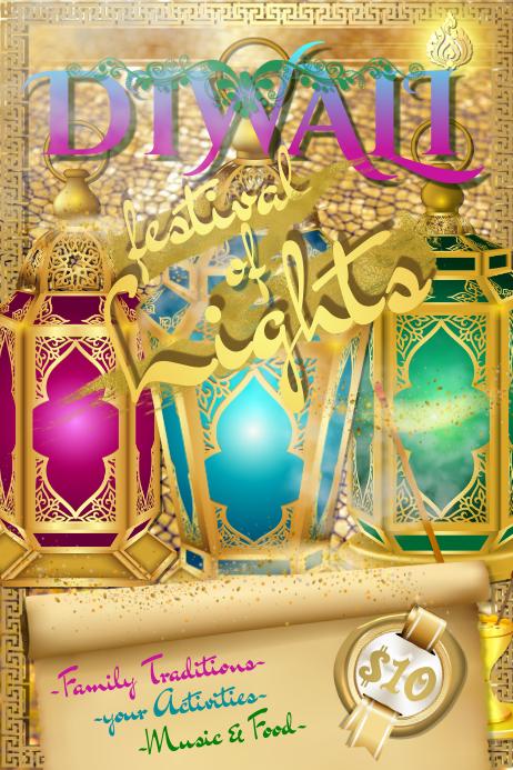 Diwali Indian Ramadan Heritage Fest Light Lotus Candle Gold