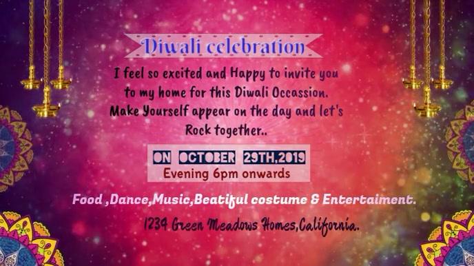 Diwali Invitation animated gif Digital Display (16:9) template
