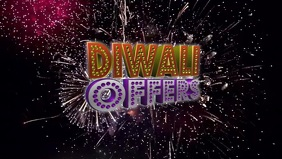 Diwali Offer with Firework Video Sampul Facebook (16:9) template