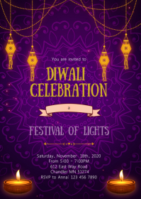 Diwali party invitation A6 template