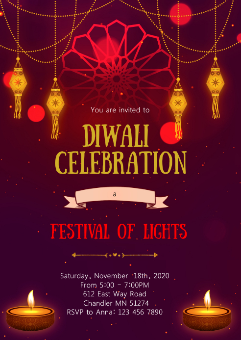Diwali party invitation A6 template