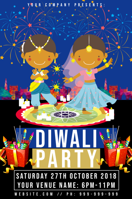 Diwali Party Poster template