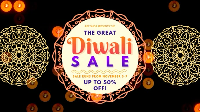Diwali Retail Sale Offer Video Ad Digital Display (16:9) template