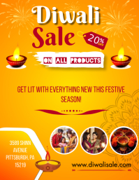Diwali Sale 20% Off on all products flyer tem Folder (US Letter) template