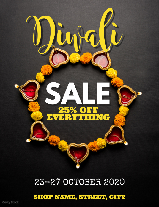 Diwali Sale Flyer (Letter pang-US) template