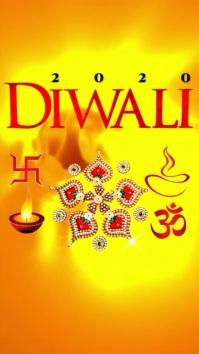 Diwali template งานแสดงผลงานแบบดิจิทัล (9:16)