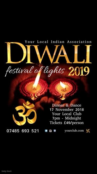 Diwali template Tampilan Digital (9:16)