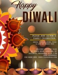 Diwali video template, festival of lights Flyer (format US Letter)