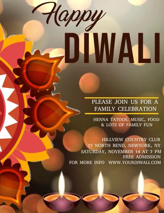 Diwali video template, festival of lights Flyer (Letter pang-US)