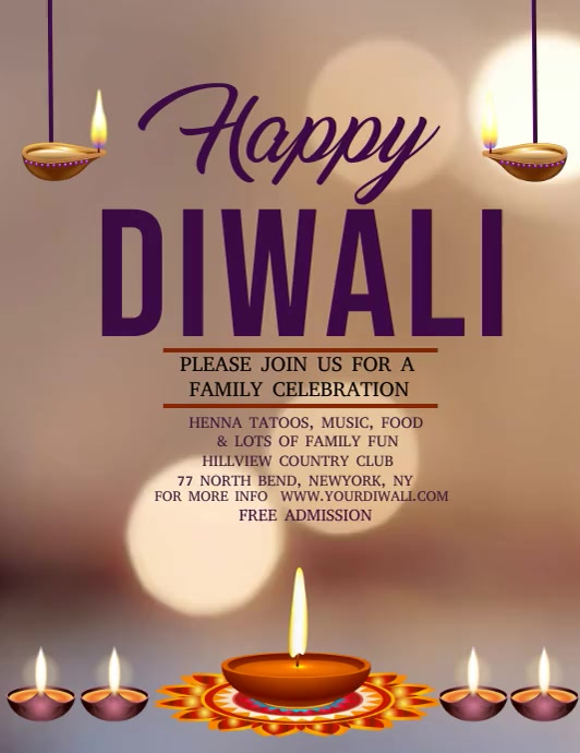 Diwali video template, festival of lights Folder (US Letter)