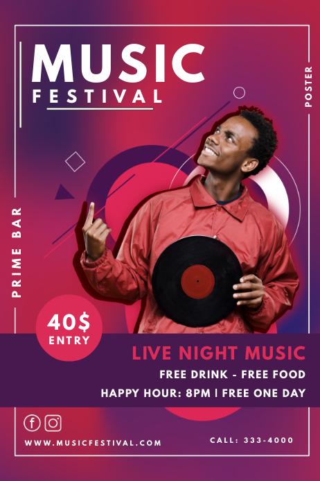 DJ Concert Modern Music Event Poster Template | PosterMyWall