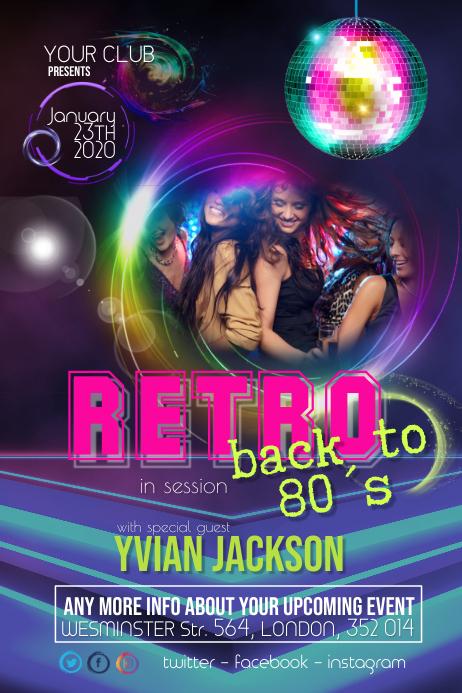 DJ Event Retro Party Night Flyer Poster