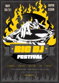 DJ FESTIVAL POSTER A4 template