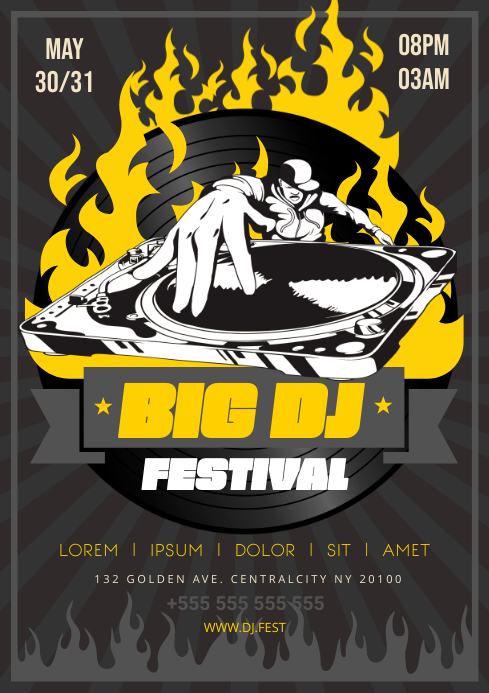 DJ FESTIVAL POSTER A4 template