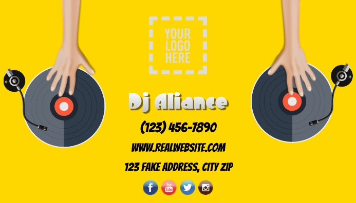 DJ Hands on Turntable Business Card template
