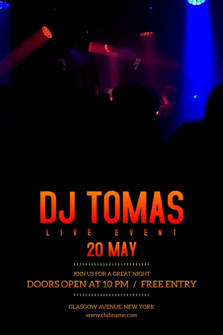 Dj Live Event Flyer Poster template