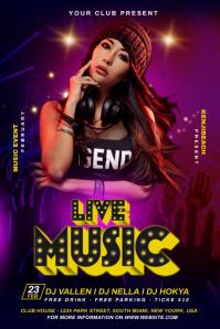 DJ Live Music Flyer Cartaz template