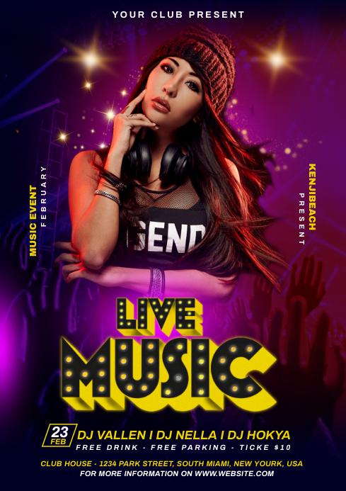 DJ Live Music Flyer A4 template