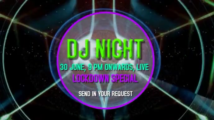 DJ Lockdown party live video graphics Digitalt display (16:9) template