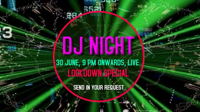 DJ Lockdown party live video graphics Tampilan Digital (16:9) template