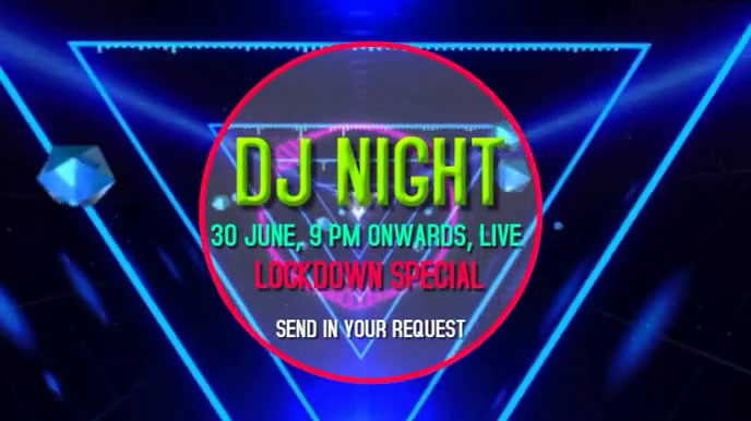 DJ Lockdown party live video graphics Tampilan Digital (16:9) template