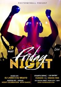 DJ Music Night club Video Flyer A4 template