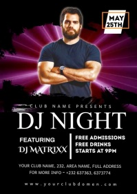 DJ NIGHT CLUB PARTY A4 template