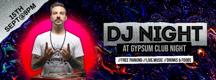 DJ Night Facebook Cover template