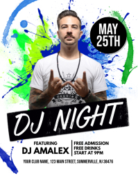 DJ Night Flyer Ulotka (US Letter) template