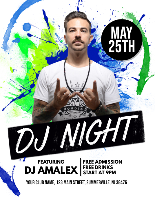 DJ Night Flyer Рекламная листовка (US Letter) template