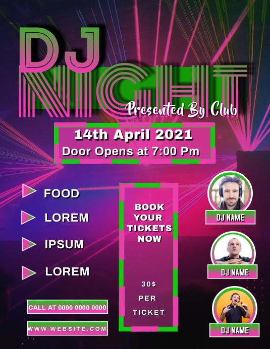 DJ Night Musical Night poster flyer template ใบปลิว (US Letter)