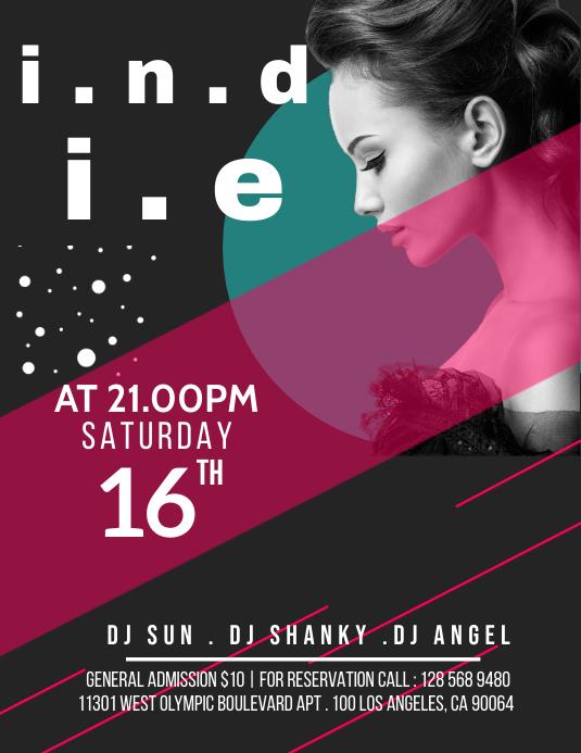 DJ NIGHT PARTY EVENT Volante (Carta US) template