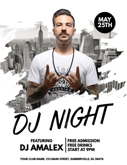 DJ Night Flyer 传单(美国信函) template